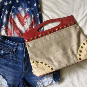 [ Kate Landry Floppy Canvas & Leather Handbag ]